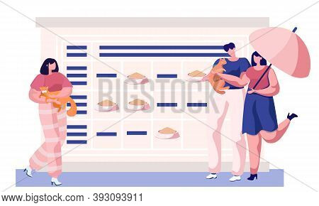 Couple Walking With Cat Holding It. Man And Woman Strolling Sunny Summer Day. Animal Care, Feeding,