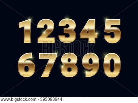 Golden Shiny Numbers Set, Gold Font Signs Isolated On Black Background. Luxury Fashion Metallic Yell