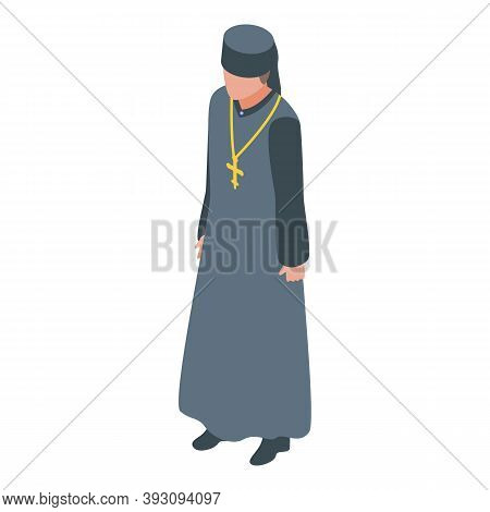 Christianity Priest Icon. Isometric Of Christianity Priest Vector Icon For Web Design Isolated On Wh