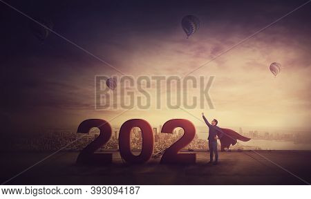 Conceptual Sunset Scene, Creative Business Person With Red Cape, Looks Determined As A Superhero, St