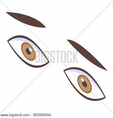 Scared Boy Eyes Icon. Isometric Of Scared Boy Eyes Vector Icon For Web Design Isolated On White Back