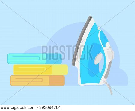 Iron And Linen. Ironing Linen With Steam Generator. Functional Modern Electric Iron And Stack Of Fol