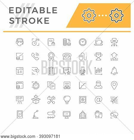 Set Line Icons Of Business Isolated On White. Time Management, Money, Finance, Marketing, Contact, P