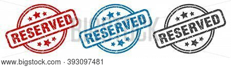 Reserved Stamp. Reserved Round Isolated Sign. Reserved Label Set