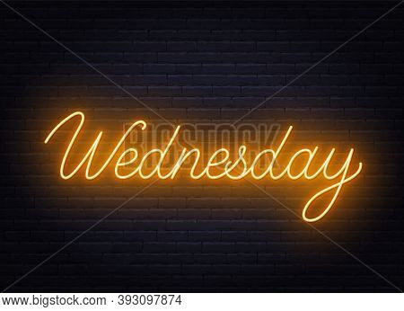 Wednesday Neon Sign On Brick Wall Background.