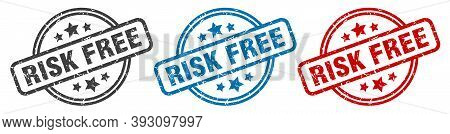 Risk Free Stamp. Risk Free Round Isolated Sign. Risk Free Label Set