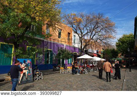 Buenos Aires, Argentina - 02 May 2016: The Street In La Boca District Of Buenos Aires, Argentina