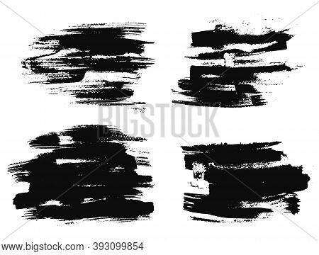 Abstract Expressive Textures Of Black Ink Or Watercolor Brush Strokes. Mysterious Dynamic Isolated I