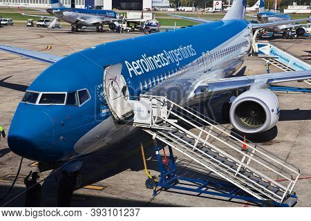 Buenos Aires, Argentina - 04 May 2016: The Airplane In The Airport Of Buenos Aires, Argentina