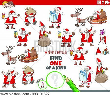 Cartoon Illustration Of Find One Of A Kind Picture Educational Game With Santa Claus Christmas Chara