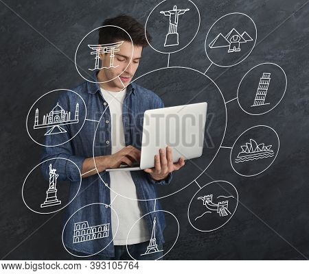 Planning Travel. Young Man Using Laptop Choosing Vacation Destination And Route Online Standing On B