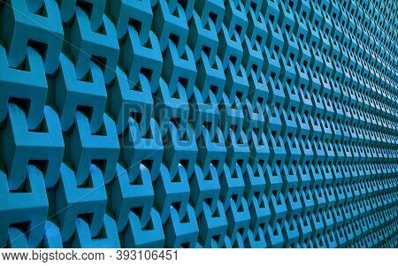 Cerulean Blue Colored 3d Pattern Wall Surface In Perspective For Background Or Banner, Illustration