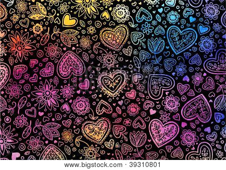 Watercolor dark hand painted background with hearts poster