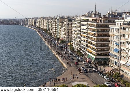 Thessaloniki, Greece - September 22, 2019: Amazing Panorama From White Tower To City Of Thessaloniki