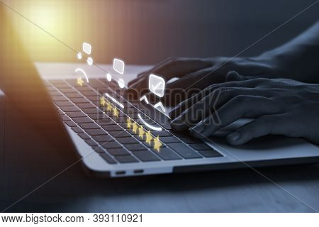 Customer Evaluation And Satisfaction For Product And Service Concept, Businessman Using Laptop Compu