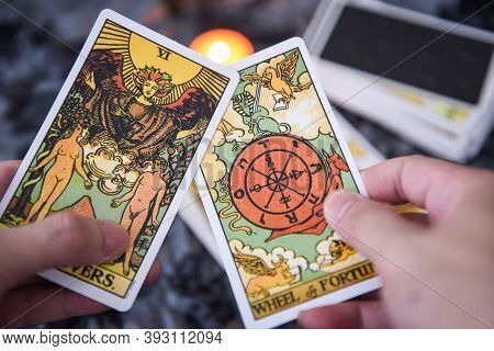 Fortune Teller Using Tarot Cards Reading Future By Candlelight On Dark Background Fortune Card Proph