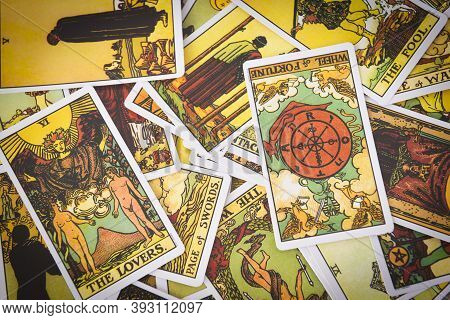 Tarot Cards Background Fortune Card Prophecy, Gypsy Card For Fortune Teller Reading Future : Bangkok