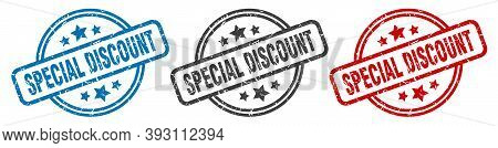 Special Discount Stamp. Special Discount Round Isolated Sign. Special Discount Label Set