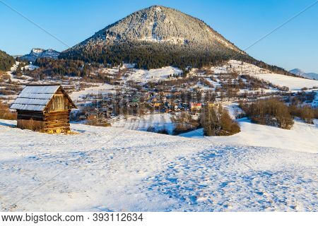 Sidirovo hill with Vlkolinec village UNESCO site, Velka Fatra mountains, Slovakia