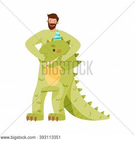 Smiling Bearded Man Wearing Dinosaur Costume As Birthday Costume Vector Illustration