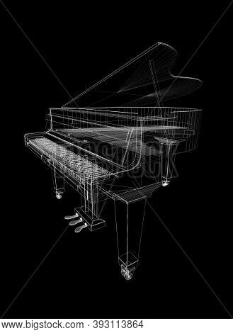 Classic Grand Piano. Outline Classic Grand Piano  Isolated On Black Background. 3d Illustration