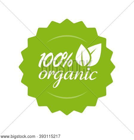 Organic Natural Food Label Logo Vector Icon For Product Badge Stamp With Leaves Isolated, 100 Percen