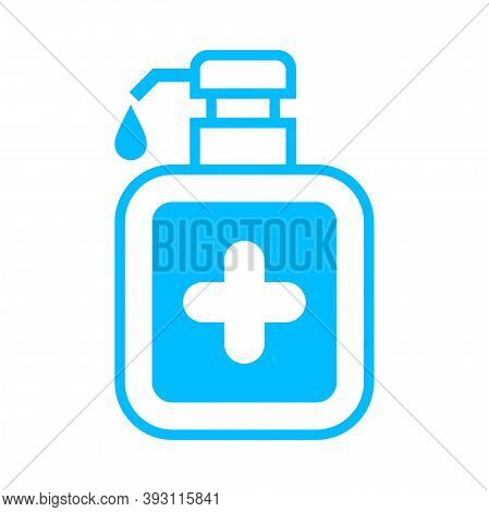 Alcohol Cleaning Gel Bottle And Cross Icon Isolated On White, Bottle Pump Hand Wash Gel Symbol, Soap
