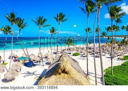 Beach Vacation. Aerial Drone View Of Tropical White Sandy Bavaro Beach In Punta Cana, Dominican Repu