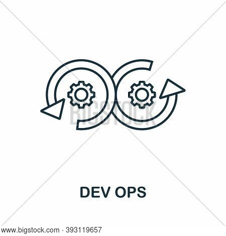 Dev Ops Line Icon. Simple Element From Digital Disruption Collection. Outline Dev Ops Icon Element