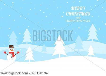 Merry Christmas And Happy New Year. Christmas Illustration With Winter Landscape. Vector Background