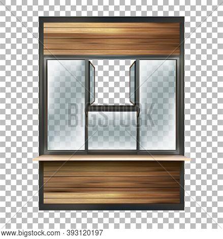 Part Of The Facade Of A Shop, Bakery, Coffee Shop. Open Window For Dispensing. Vector Illustration O