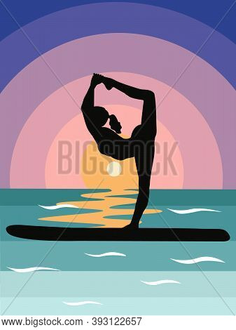 Silhouette A Woman Does Stand-up Rowing Sup Yoga On A Paddle Board On The Water By The Sea. Stand Up