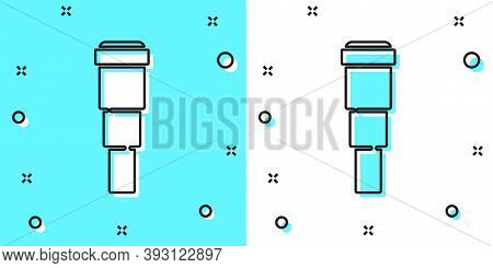 Black Line Spyglass Telescope Lens Icon Isolated On Green And White Background. Sailor Spyglass. Ran