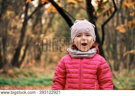 Adorable And Happy Little Girl 2-3 Years Old Outdoors In Autumn Forest Or Park. Emotions Of Joy And