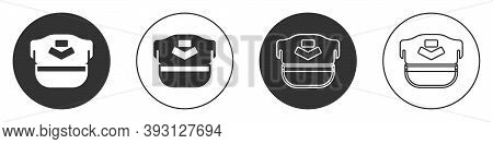 Black Pilot Hat Icon Isolated On White Background. Circle Button. Vector