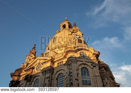 Dresden, Saxony, Germany - 22 August 2020: A View Of The Baroque Frauenkirche On The Neuer Markt In