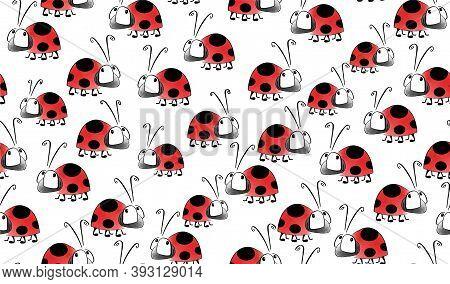 Cartoon Style Animals. Insects. Ladybird Fabric, Textile Illustration