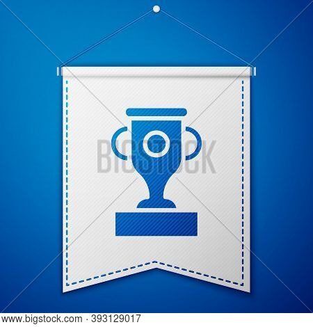 Blue Award Cup Icon Isolated On Blue Background. Winner Trophy Symbol. Championship Or Competition T