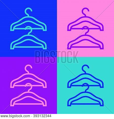 Pop Art Line Hanger Wardrobe Icon Isolated On Color Background. Cloakroom Icon. Clothes Service Symb