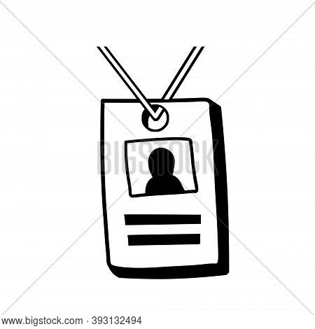 Badge. Id Card With Photo. Doodle Id And Personal Information On Rope. Sketch Cartoon Illustration