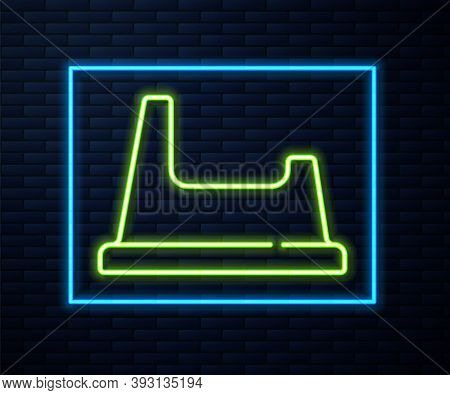Glowing Neon Line Baby Potty Icon Isolated On Brick Wall Background. Chamber Pot. Vector