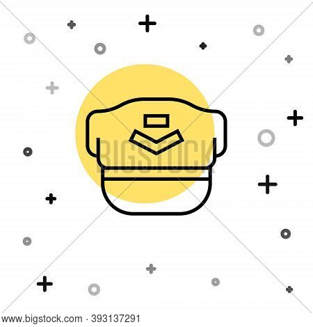 Black Line Pilot Hat Icon Isolated On White Background. Random Dynamic Shapes. Vector