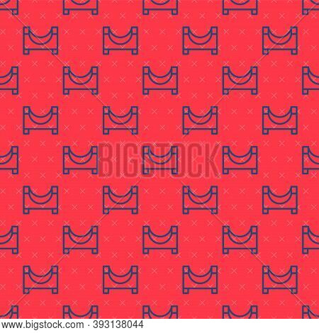 Blue Line Skate Park Icon Isolated Seamless Pattern On Red Background. Set Of Ramp, Roller, Stairs F