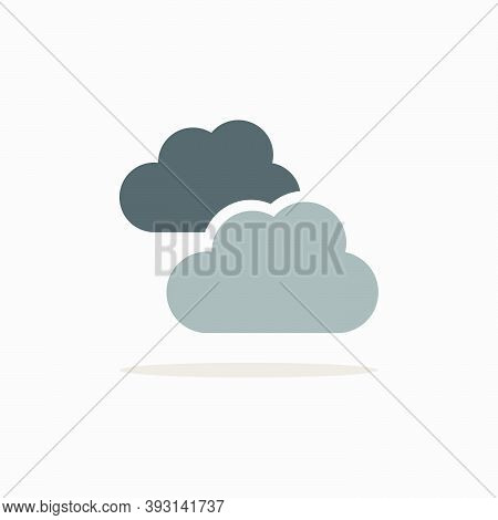 Clouds. Overcast. Color Icon With Shadow. Weather Glyph Vector Illustration