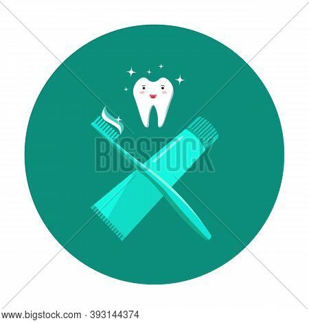 Brushing Your Teeth Icon. Concept Of Oral Hygiene And Prevention Of Dental Caries. A Healthy Tooth,