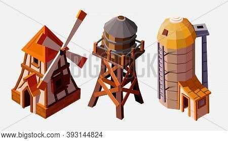 Collection Of Special Farm Buildings. Water Tower, Elevator And Windmill. Collection Buildings Isola