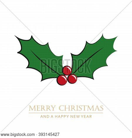 Christmas Holly Berry Isoladet On White Vector Illustration Eps10