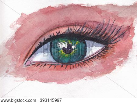 The Female Eye Is Green. Watercolor Illustration, Hand-drawn Drawing On Watercolor Paper. Close-up,