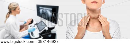 Woman Palpation Her Neck, Examine Thyroid Gland. Enlarged Thyroid Gland, Close Up. Medical Ultrasoun
