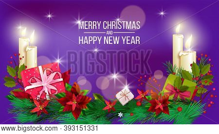 Christmas Winter Vector Background With Poinsettia Leaves, Candles, Fir Branches, Gift Boxes. X-mas
